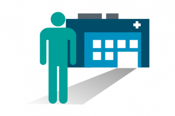 Figure in front of hospital infographic