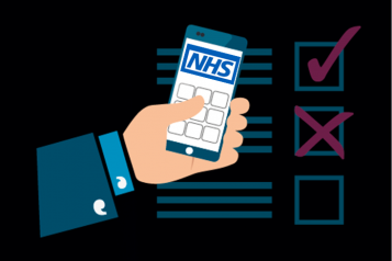 mobile phone held in handvwith NHS Logo, and checklist behind