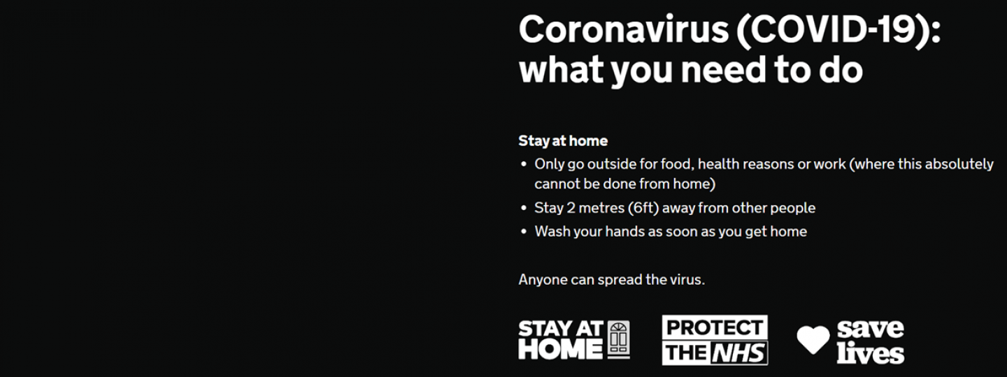 Coronavirus (COVID-19): what you need to do Social Distancing  Stay at home  Only go outside for food, health reasons or work (where this absolutely cannot be done from home) Stay 2 metres (6ft) away from other people Wash your hands as soon as you get ho